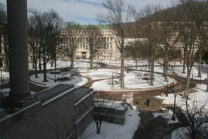 A snowy day at the WV Capitol complex.