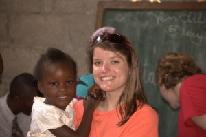 Jenny with one of the kids from the Haitian church the group attended