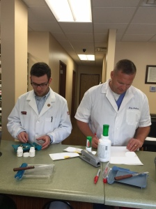 P4 Student Kyle Robinson with Preceptor Joey Anderson at Alum Creek Pharmacy on Sand Plant Road