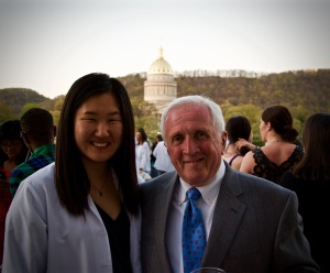P3 Seol Park poses for a picture with retiring faculty member Dr. Dennis K. Flaherty